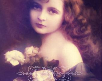 Vintage image altered art,Charming Girl,Roses,Image Instant Download.