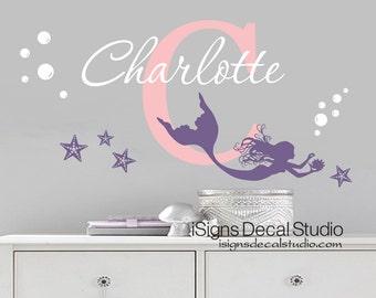 Mermaid Wall Decal - Mermaid Decal - Nursery Mermaid - Girls Room Decal - Mermaid Decor - Mermaid Wall Art