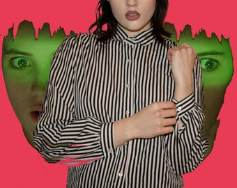 80s Black and White Striped Shirt