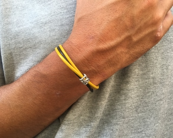 LEATHER MENS BRACELET, gift for men, for him bracelet, yellow leather cord bracelet, custom size, home made jewelry for men, for boy