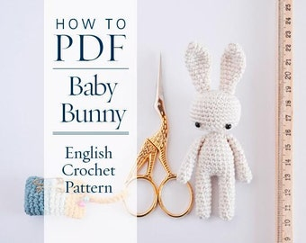 crochet pattern, amigurumi BABY BUNNY step by step pattern ready to download by CrochetObjet