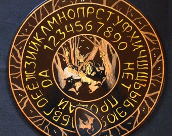"Ouija board - Spirit board - Talking board ""Night Witchcraft"" / Any Alphabet & Free Shipping"