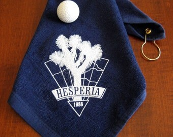 Vintage Golf Bag Towel - Hesperia Golf and Country Club Towel - Tee and Green Golf Bag Towel 1988 - Vintage Clip on Sports Terry Towel