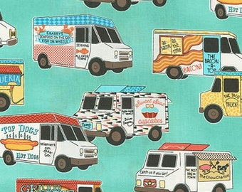 Food Trucks 15786-200 Vintage Blue by Sue Coccia for Robert Kaufman by the Yard