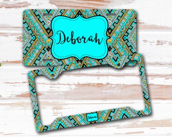 Birthday present for teen daughter, Personalized aztec license plate or frame, Turquoise and gray, Keychain decal or seat belt cover (1669)