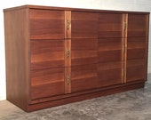 Mid-Century Modern Walnut 6-Drawer Dresser & Mirror - Credenza - Buffet ~ Great Mad Men / Eames Era Decor *SHIPPING NOT INCLUDED*