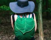 Dark Green Leaf Bucket Backpack, Bohemian Backpack, Women's Waterproof Festival Backpack, Grunge Backpack, Hipster Backpack, School Backpack