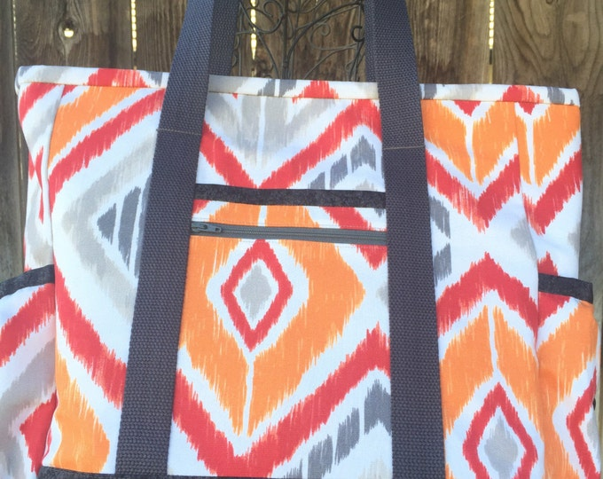 Large Tote Bag with Pockets, Teacher Tote, Work Tote, Diaper Bag, Orange and Grey Kitchen Sink Tote, Professional Tote, Carry On