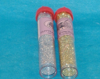 Silver and Gold Glitter, 2 Brand New Tubes 20 Grams Each - Just in Time for Christmas Crafting