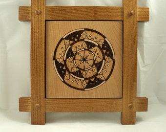 Cherry Wood Framed Star Wheel Woodburned Mandala Art