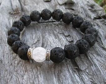 Quartz and Lava Rock Women's Bracelet - Women's Jewelry - Bracelets for Women - Stretch Bracelet - Beaded Bracelet - Black Bracelet - W0299
