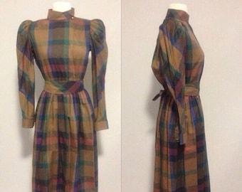 ON SALE 1980s Fall Colors Plaid Dress