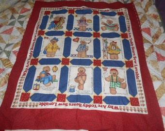 Daisy Kingdom 1996 Teddy Bear Panel-Cheater Quilt To Make