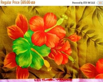 ON SALE Vintage Hawaiian Fabric - Polynesian, G.V.H Hawaii print - Tropical Fabric - Green Hawaiian Fabric - Floral Fabric, 2 Yards, 100% Co