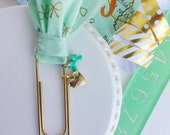 gold and aqua bow / fabric planner - bible journaling jumbo paper clip