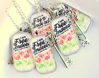 free indeed John 8:36 - inspirational - scripture pendant necklace