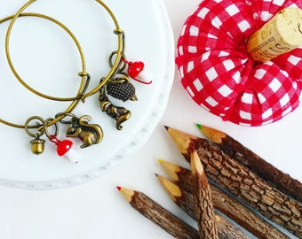 woodland themed - bronze - stackable bangle bracelet - adjustable stacking bracelet