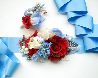 Blue Red White Weddings Bridal Sash, Blue Red Grooms Boutonniere, Light Blue Red Maternity Belt, Serenity Red Weddings Bridal Accessories