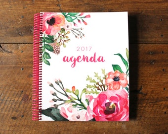 2017 Agenda // Planner Calendar Floral Watercolor Daily Weekly Monthly Goal Tabs Scripture Christian Meal Plan To Do Organize Life
