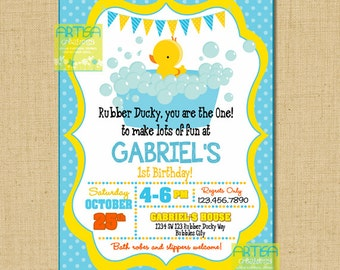 Rubber Ducky birthday Invitation, rubber ducky invitation, rubber ducky invitation, rubber duck party invitation, rubber duckies invitation