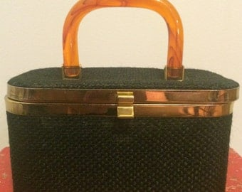 Chic 50's Black Cloth and Lucite Turtoise Handled Handbag...JR Julius Resnic USA...Mid-century Modern Purse