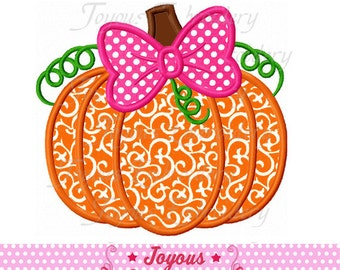 Instant Download Thanksgiving Pumpkin With Bow Applique Embroidery Design NO:1817
