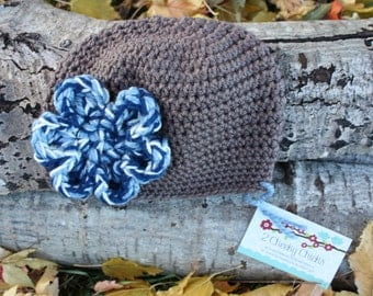 Brown CROCHET Beanie Hat with Blue and White Flower, Brown Crochet Winter Hat with BLUE and White Flower, Brown Baby GIRL Crochet Hat
