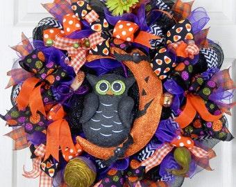 Halloween Wreath, Halloween Wreaths, Halloween Owl Wreath, Mesh Wreaths, Spooky Wreath, Deco Mesh Wreath, Halloween Decoration, Candy Corn
