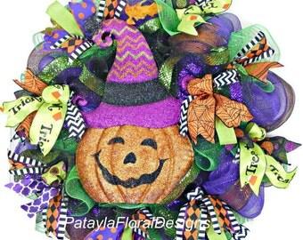 Halloween Wreath, Pumpkin Witch Wreath, Deco Mesh Wreath, Halloween Wreaths, Jack O Lantern Wreath, Pumpkin Wreaths, Whimsical Witch Wreath