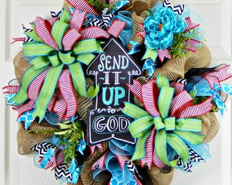 Burlap Mesh Wreath, Religious Wreath, Everyday Wreath, Summer Wreath, Mother's Day Gift, Poly Jute Burlap, Indoor Outdoor, Blue Red Black Wr