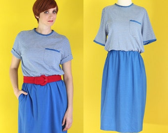 Vintage 80s Blue and White Striped Dress - Knit Dress with Pockets - Nautical Dress - Short Sleeve Dress - Summer Dress - Size Large