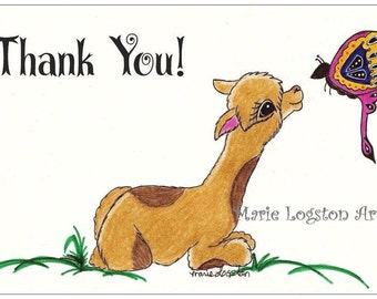 Alpaca/ Butterfly Thank You Greeting Cards - Note Cards. Includes White Envelopes. Blank Inside.