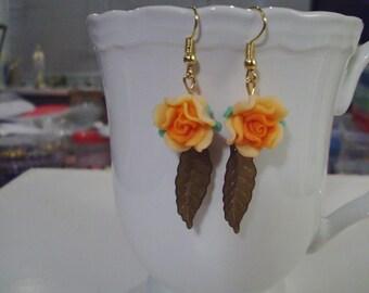 Orange Rose Earrings - Free Shipping