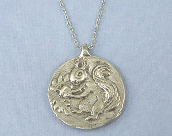 Squirrel With Acorn Pendant Necklace Silver Pewter Woodland Animal Charm with Quote Seek and You will Find |GS1-31
