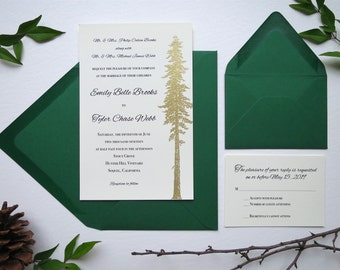 Gold Redwood Tree Wedding Invitation Set, 4 Pieces - Style 106