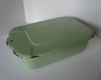 Large Green Enamel Vintage Refrigerator Box