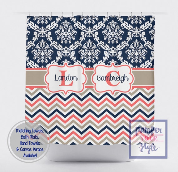Navy Blue Coral Custom Shower Curtain Damask Chevron