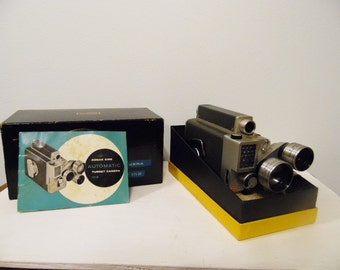 Vintage Kodak Movie Camera with Orginal Box and Instruction Book - Kodak Cine Automatic Turret Camera #138 with f/1.9 Lens -