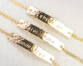 40% OFF SALE Alohilohi bracelet - gold ID bracelet, gold bar bracelet, personalized jewelry, name bracelet, initial bracelet, inspiration gi
