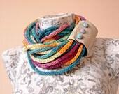 Fabric Button Bamboo knit infinity scarf, cuff dark teal to fuschia tube scarf, gypsy bright colorful fake leather cuff collar scarf