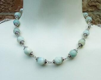 Opague Pale Blue Amazonite Necklace