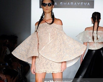 Irina Shabayeva Lace Applique cape sleeve cocktail mini dress. Comes in custom colors ..