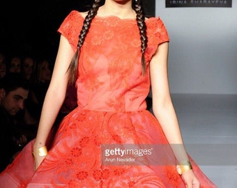 Irina Shabayeva Lace Applique off the shoulder cocktail  dress. Comes in custom colors ..