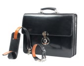 Black Bridle Leather Briefcase with a Calf Leather Lining