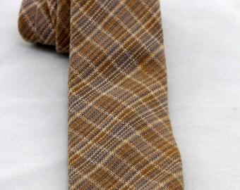 Vintage Men's Plaid Tie/ Retro Brown Grey Blue Necktie