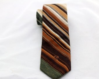Vintage Men's Brown Green Stiped Pierre Cardin Tie/ Retro Striped Pierre Cardin Necktie