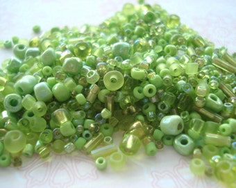 10g Pack of Green Mix Beads, Green Seed and Bugle Beads, BD10