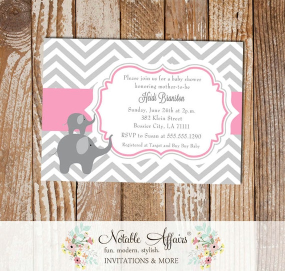 Pink and Gray Chevron with Elephants - Baby Shower Birthday Party - colors can be changed