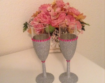 Toasting Flutes..Silver Glitter..Pink Bling
