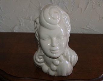 Vintage Circa 1940s White Glaze Unmarked Ceramic Head Vase Closed Eyes 1940s Style Hair